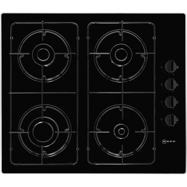 NEFF N30 T26CR48S0 59cm Gas Hob - Black Glass - T26CR48S0_BK - 1