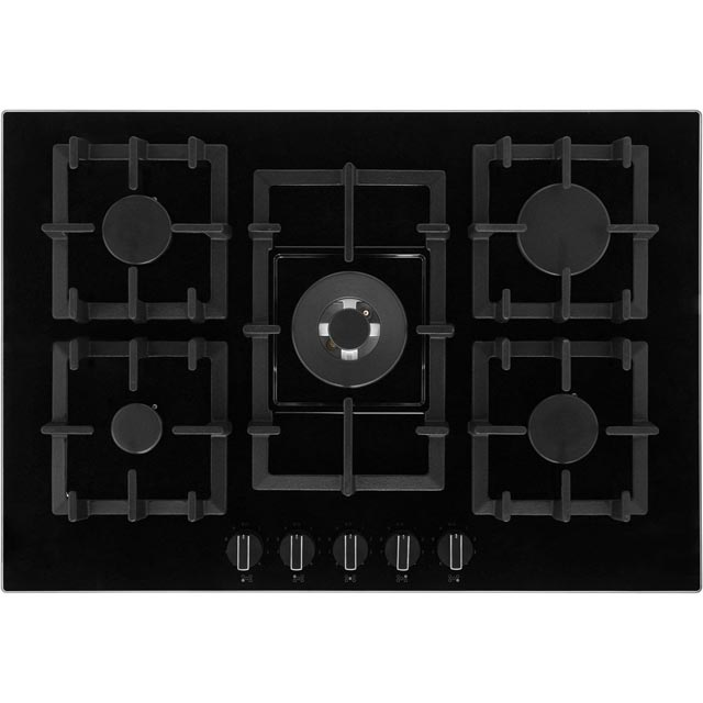 Neff T27CS59S0 75cm Five Zone Gas-on-glass Hob Black With Cast Iron Pan Stands Best Price and Cheapest