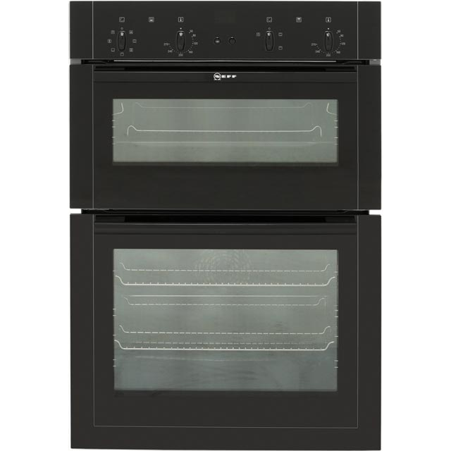 neff u14m42s5gb built in electric double oven 59cm double cavity black new ebay. Black Bedroom Furniture Sets. Home Design Ideas