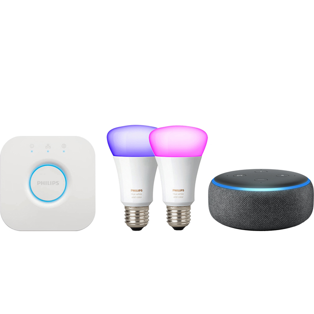 Amazon Echo Dot (3rd Gen) Smart Speaker with Alexa Includes Philips Hue E27 Starter Kit - Black