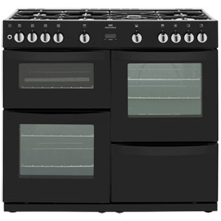Newworld VISION100G 100cm Gas Range Cooker - Black - A/A Rated - VISION100G_BK - 1