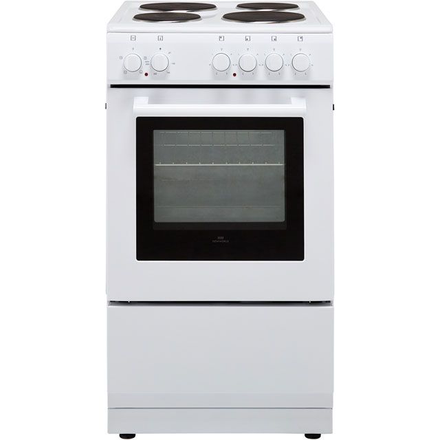 Newworld NW50ES 50cm Electric Cooker with Solid Plate Hob - White - A Rated - NW50ES_WH - 1