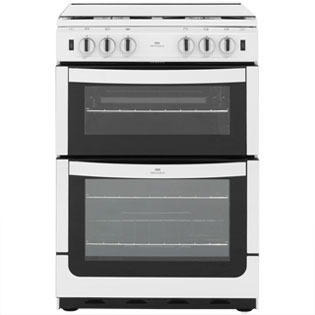 Newworld NW601GTCL 60cm Gas Cooker with Full Width Gas Grill - White - A Rated - NW601GTCL_WH - 1