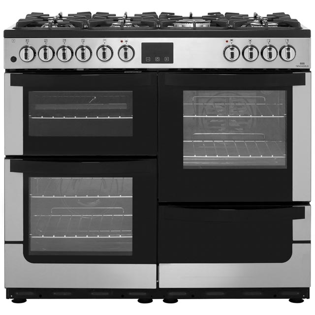 Newworld Vision 100DF 100cm Dual Fuel Range Cooker - Stainless Steel - A/A Rated
