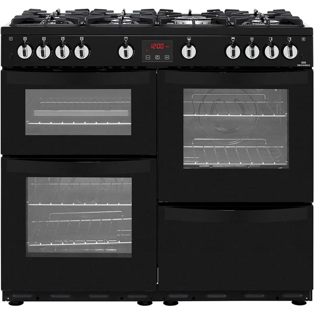 Newworld Vision 100G 100cm Gas Range Cooker - Black - A/A Rated