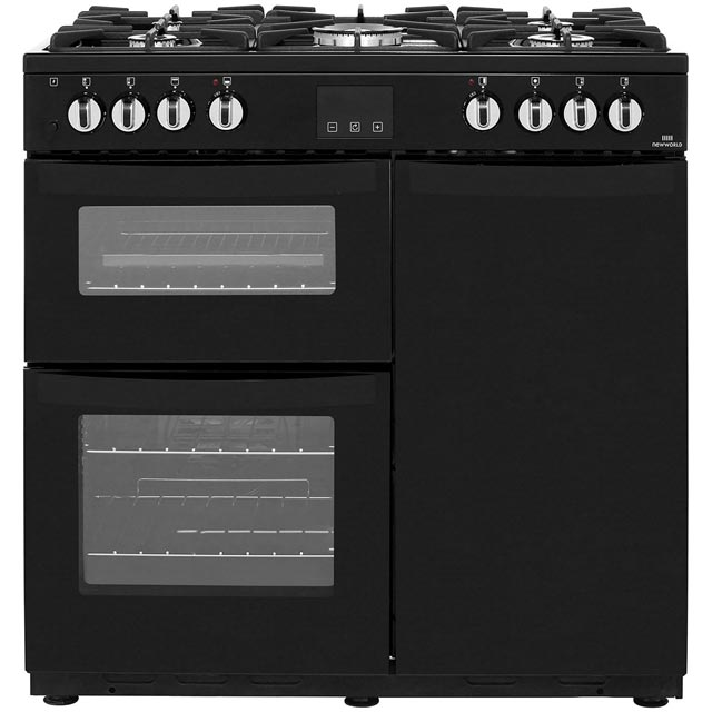 Newworld Vision 90DF 90cm Dual Fuel Range Cooker - Black - A/A Rated - Vision 90DF_BK - 1