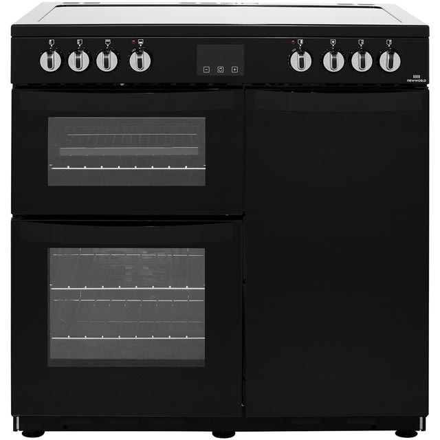 Newworld Vision 90E 90cm Electric Range Cooker with Ceramic Hob - Black - A/A Rated