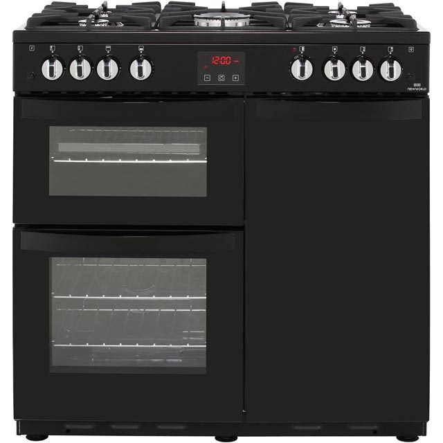Newworld VISION90G 90cm Gas Range Cooker with Electric Fan Oven - Black - A Rated - VISION90G_BK - 1
