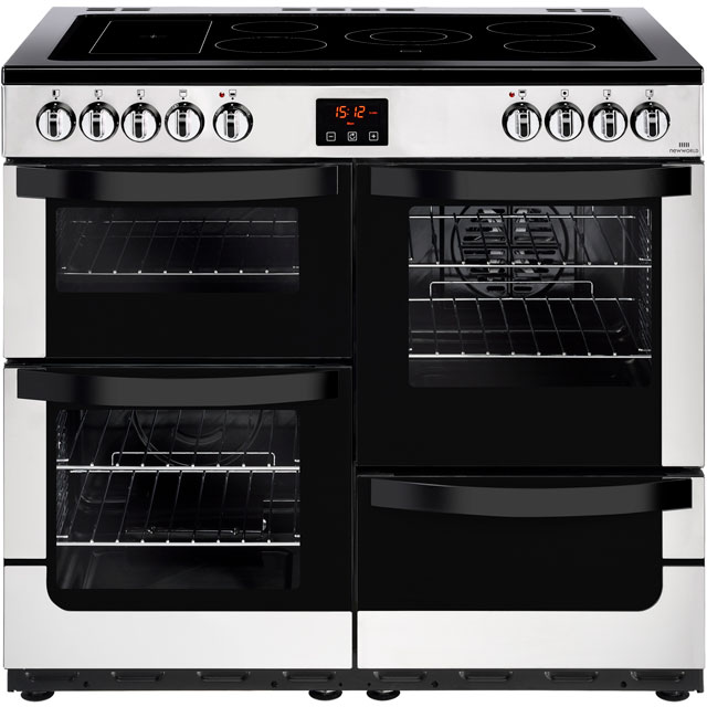 Newworld Vision 100E 100cm Electric Range Cooker with Ceramic Hob - Stainless Steel - A/A Rated