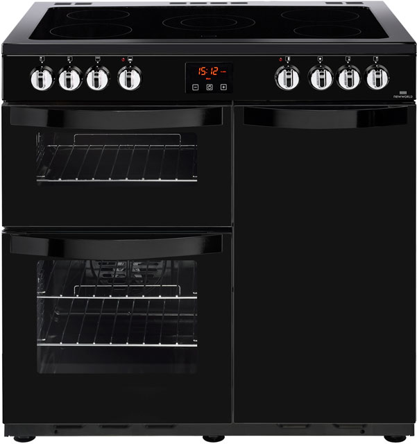 Newworld Vision 90E 90cm Electric Range Cooker with Ceramic Hob - Black