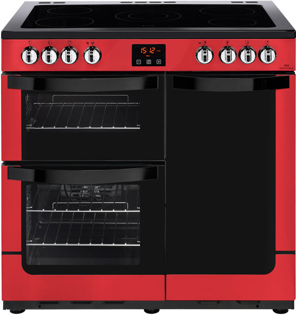 Newworld Vision 90E 90cm Electric Range Cooker with Ceramic Hob - Red
