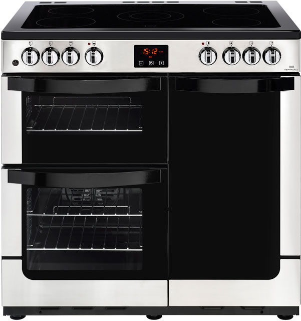 Newworld Vision 90E 90cm Electric Range Cooker with Ceramic Hob - Stainless Steel - A/A Rated - Vision 90E_SS - 1