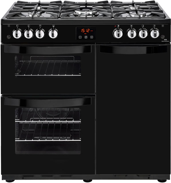 Newworld Vision 90G 90cm Gas Range Cooker with Electric Fan Oven - Black