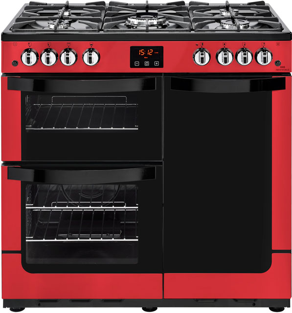 Newworld Vision 90G 90cm Gas Range Cooker with Electric Fan Oven - Red - B/A Rated - Vision 90G _RD - 1