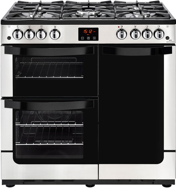 Newworld Vision 90G 90cm Gas Range Cooker with Electric Fan Oven - Stainless Steel