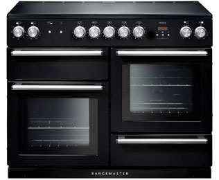 Rangemaster Nexus 110cm Electric Range Cooker with Induction Hob - Black / Chrome - A/A Rated