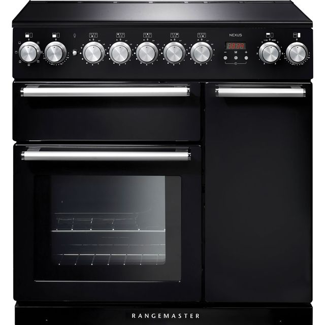 Rangemaster Nexus NEX90EIBL/C 90cm Electric Range Cooker with Induction Hob - Black / Chrome - A/A Rated - NEX90EIBL/C_BK - 1