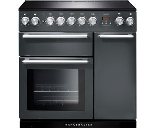Rangemaster Nexus NEX90EISL/C 90cm Electric Range Cooker with Induction Hob - Slate - A/A Rated - NEX90EISL/C_SL - 1