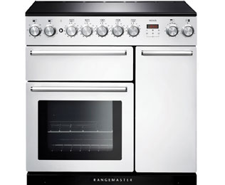 Rangemaster Nexus 90cm Electric Range Cooker with Induction Hob - White / Chrome - A/A Rated