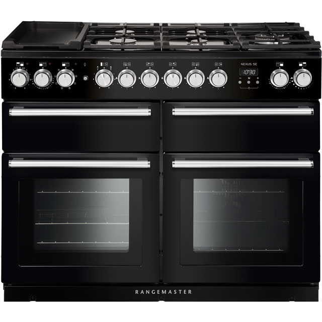 Rangemaster Nexus SE NEXSE110DFFBL/C 110cm Dual Fuel Range Cooker - Black / Chrome - A/A Rated