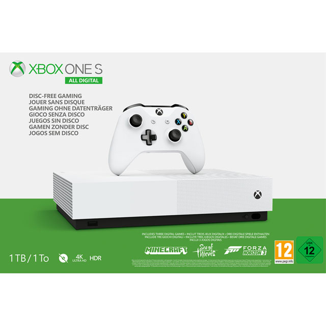 Xbox One S All-Digital Edition 1TB with Forza Horizon 3, Sea Of Thieves, Minecraft (Digital Downloads) & 1 Month Xbox Live Gold - White - NJP-00030 - 1