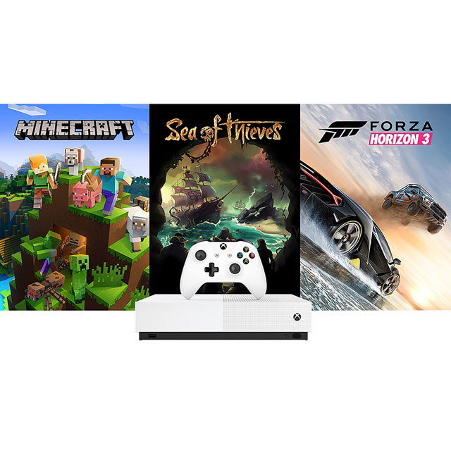 Xbox One S 1TB with Forza Horizon 3, Sea Of Thieves, Minecraft (Digital  Downloads) & 1 Month Xbox Live Gold - White
