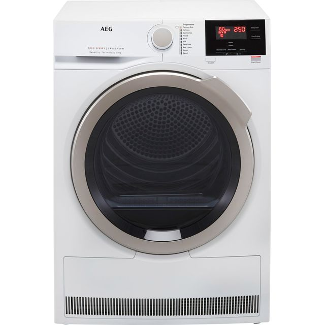 AEG SensiDry Technology T7DBG842R 8Kg Heat Pump Tumble Dryer - White - A++ Rated