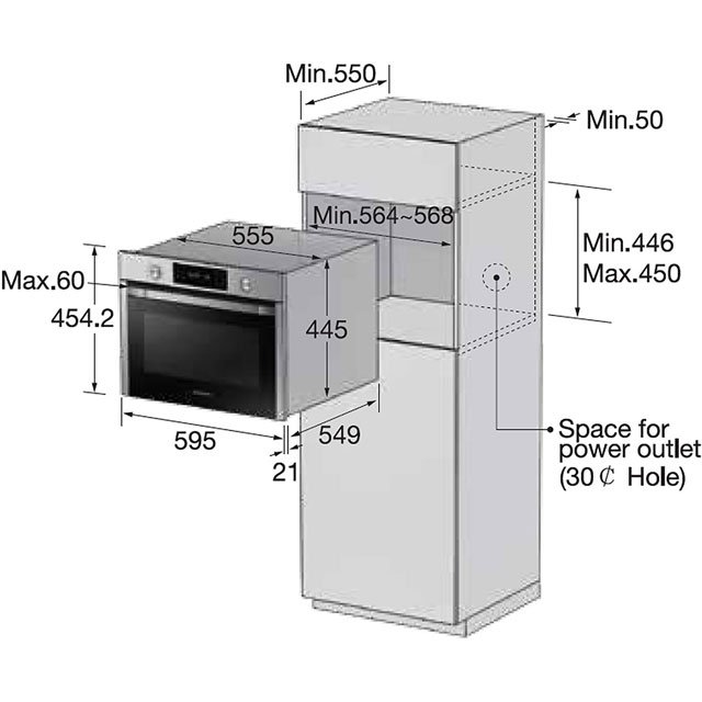 Samsung NQ50J3530BS Built In Electric Single Oven - Stainless Steel - NQ50J3530BS_SS - 2