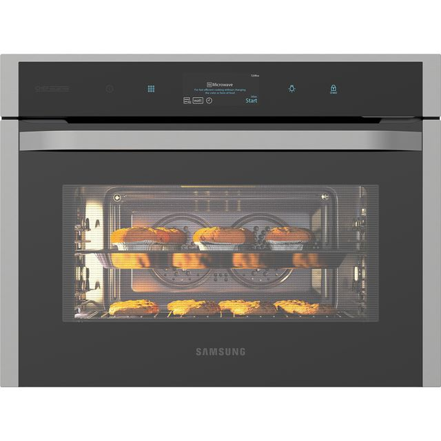 Samsung Chef Collection NQ50J9530BS Built In Compact Electric Single Oven with Microwave Function - Black / Stainless Steel - NQ50J9530BS_BKS - 1