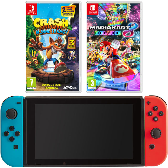 Nintendo Switch 32GB with Mario Kart 8 Deluxe and Crash Bandicoot - Neon Red/Blue - NSHEADCST55507 - 1