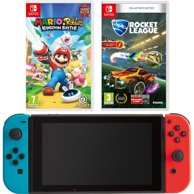 Nintendo Switch 32GB with Mario & Rabbids Kingdom Battle and Rocket League Collectors Edition (Cartridges) - Red / Blue