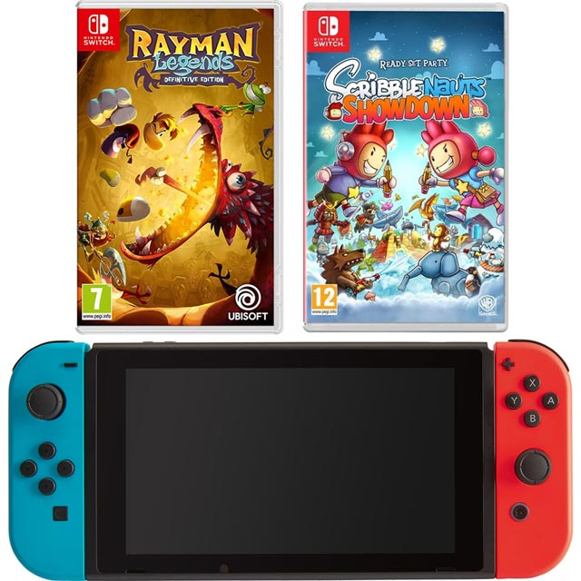 Nintendo Switch 32GB with Rayman Legends Definitive Edition (cartridge) + Scribblenauts Showdown (cartridge) - Red / Blue - NSHEHWCST54332 - 1