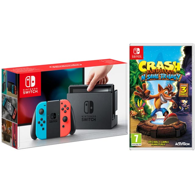 Nintendo Switch 32GB with Cartridge for Crash Bandicoot N-Sane Trilogy Bundle - Red / Blue