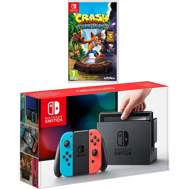 Nintendo Switch 32GB with Cartridge for Crash Bandicoot N-Sane Trilogy - Red / Blue - NSHEHWCST54334 - 1