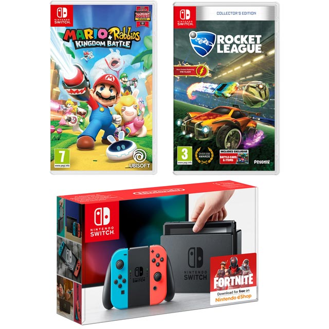 Nintendo Switch 32GB with Mario and Rabbids Kingdom Battle Gold Edition (cartridge) and Rocket League Collectors Edition (cart - Neon Red/Blue