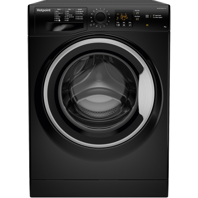Hotpoint NSWM963CBSUK 9Kg Washing Machine with 1600 rpm - Black - A+++ Rated - NSWM963CBSUK_BK - 1