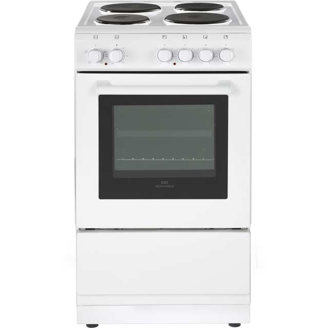 Newworld 50cm Electric Cooker with Solid Plate Hob - White - A Rated