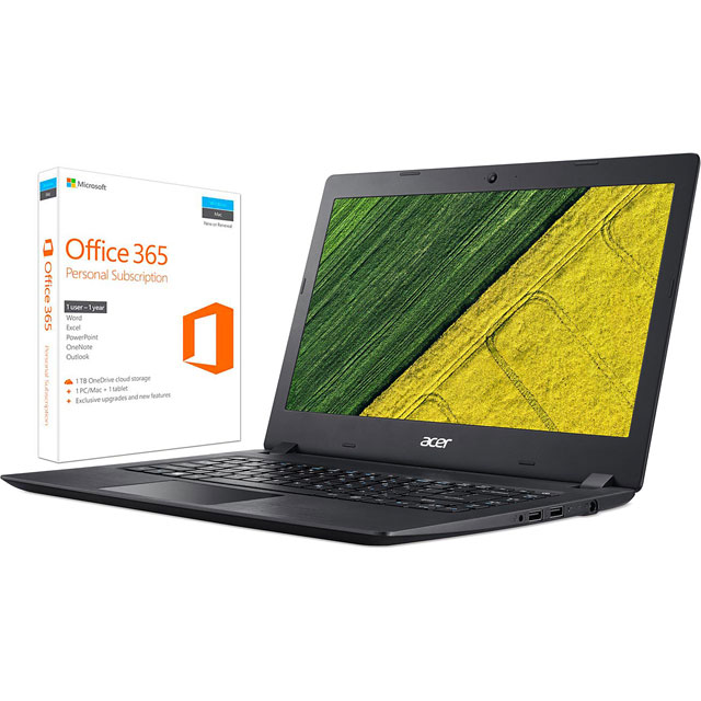 "Acer Aspire ES1-132 11.6"" Laptop Includes Office 365 Personal 1-year subscription with 1TB Cloud Storage - Black"