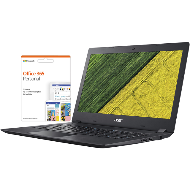 "Acer Aspire ES1-132 11.6"" Laptop Includes Office 365 Personal 1-year subscription with 1TB Cloud Storage - Black - NX.GGLEK.013 - 1"
