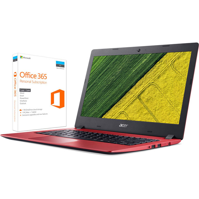 "Acer Aspire 1 A114-31 14"" Laptop Includes Office 365 Personal 1-year subscription with 1TB Cloud Storage - Red"