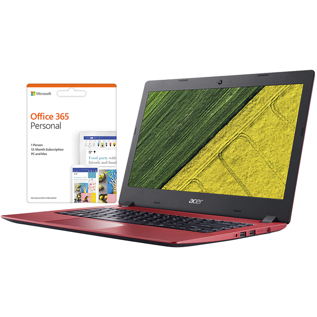 "Acer Aspire 1 14"" Laptop Includes Office 365 Personal 1-year subscription with 1TB Cloud Storage - Red - NX.GQAEK.006 - 1"