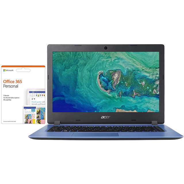 "Acer Aspire 1 14"" Laptop Includes Office 365 Personal 1-year subscription with 1TB Cloud Storage - Blue - NX.GW9EK.003 - 1"