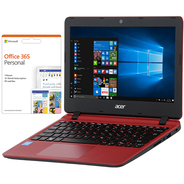"Acer Aspire 1 A111-31 11.6"" Cloudbook Laptop Includes Office 365 Personal 1-year subscription with 1TB Cloud Storage - Red - NX.GX9EK.004 - 1"