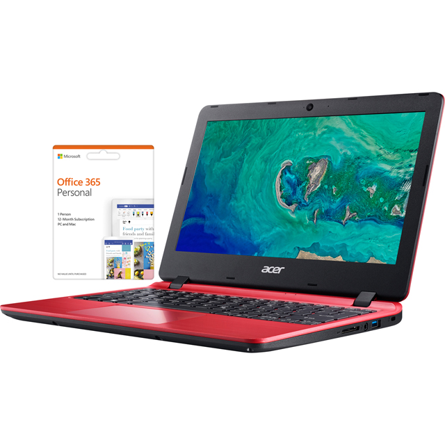"Acer Aspire 1 A111-31 11.6"" Cloudbook Laptop includes Office 365 Personal 1-year subscription with 1TB Cloud Storage - Red - NX.GX9EK.006 - 1"