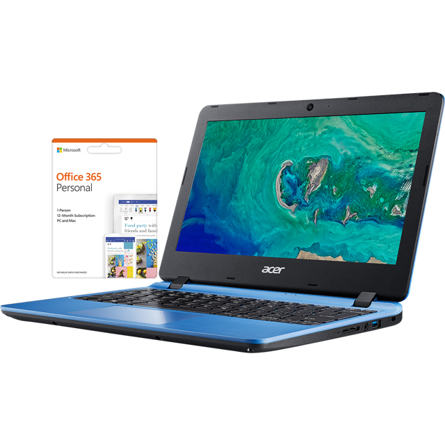 "Acer Aspire 1 A111-31 11.6"" Cloudbook Laptop includes Office 365 Personal 1-year subscription with 1TB Cloud Storage - Blue - NX.GXAEK.006 - 1"