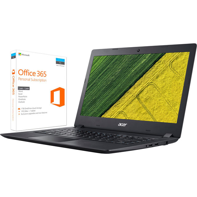 "Acer Aspire 1 14"" Laptop Includes Office 365 Personal 1-year subscription with 1TB Cloud Storage - Black"