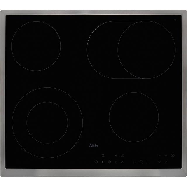 AEG Competence HK634060XB 58cm Ceramic Hob - Black / Stainless Steel
