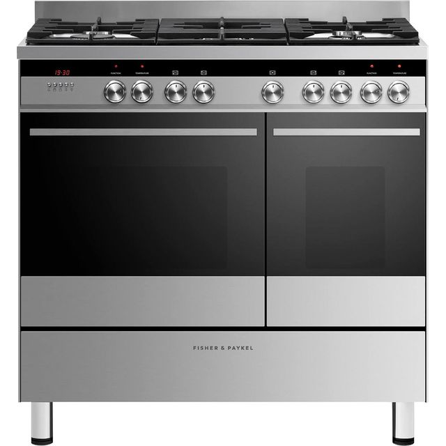 Fisher & Paykel Designer OR90L7DBGFX1 90cm Dual Fuel Range Cooker - Stainless Steel - B/B Rated - OR90L7DBGFX1_SS - 1