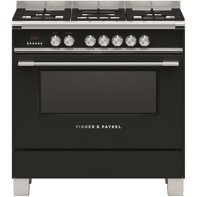Fisher & Paykel Classic OR90SCG4B1 90cm Dual Fuel Range Cooker - Black - A Rated - OR90SCG4B1_BK - 1
