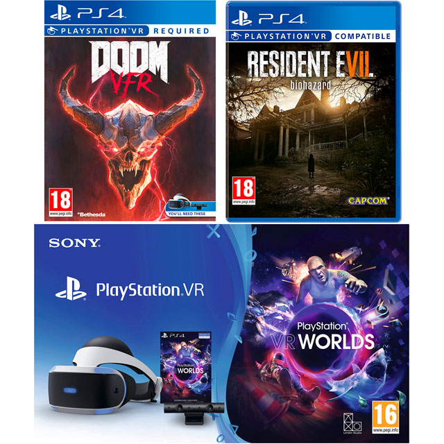 Sony PlayStation VR Headset V4 with Resident Evil 7 Biohazard, Doom VFR (Disc) VR Worlds (Download) - Black / White - P4AEHRCST55759 - 1